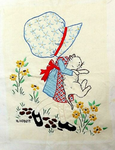 """Finished Embroidery Piece Holly Hobbie Girl and Cat 13"""" x 10"""" Image Area VGC"""