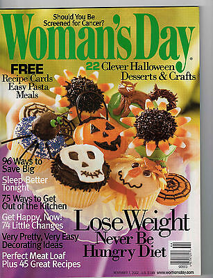 Woman's Day 2002 Halloween Cupcakes Treats Crafts to Make Pasta Recipe Cards  - Halloween Cup Cake Recipes