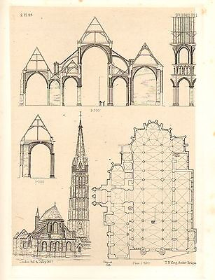 1857 LARGE ARCHITECTURE PRINT ~ BRUGES CATHEDRAL MEDIEVAL GOTHIC ART MEDIAEVAL
