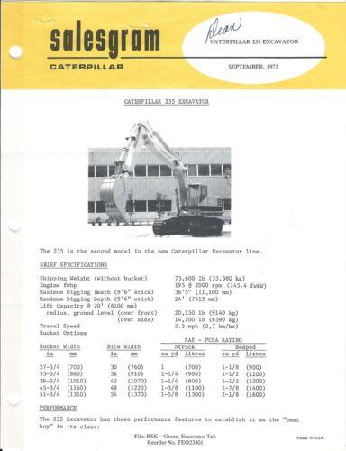 Equipment Brochure - Caterpillar - 235 - Excavator - c1973 - 3 items (E3646)