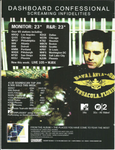 DASHBOARD CONFESSIONAL Screaming RARE 2002 PROMO TRADE AD Poster for Places CD