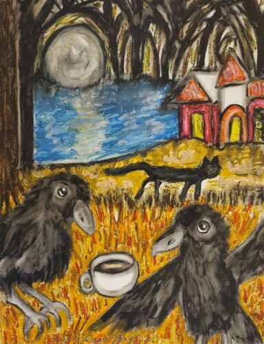 Crow Drinking Coffee 13 x 19 Art Print Raven Collectible by KSams Haunted Forest