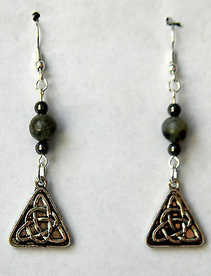 Black Agate, Hematite and Silver  Celtic Earrings Made in USA  By Slave Violet