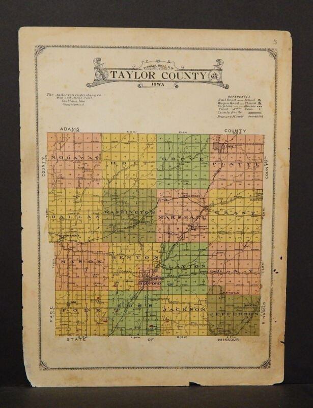 Iowa Taylor County Map 1923  W13#58