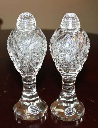 Vintage American cut Crystal corp. IMPORTED Hand Cut Crystal Salt Pepper Shakers