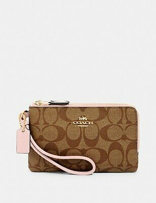 New Authentic Coach F87591 Double Corner Zip Wristlet Wallet Khaki Blossom Pink