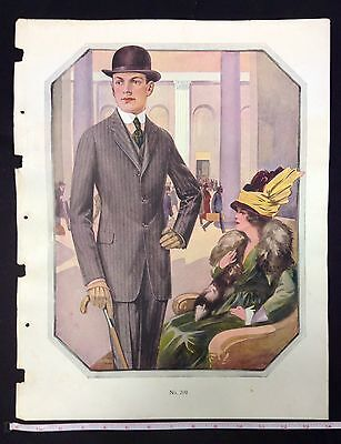 1900s MALE CLOTHING FASHION SALESMAN SAMPLE PRINT ON DOUBLE  WEIGHT PAPER #a7