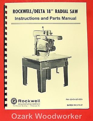 Rockwell-delta 18 Radial Arm Saw Operators Parts Manual 0640