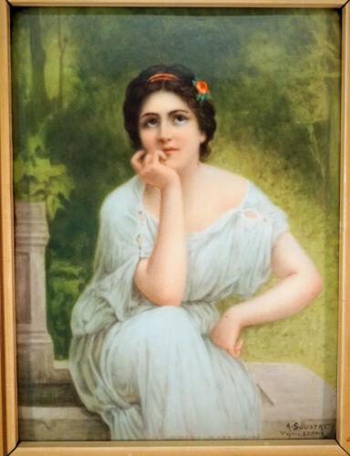 KPM Plaque Porcelain Painting Signed Alexandre Soustre Lenoir Beautiful Lady
