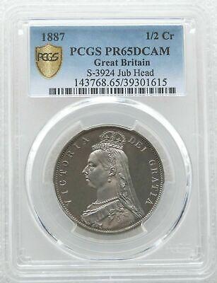 1887 British Victoria Jubilee Head Silver Proof Half Crown Coin PCGS PR65 DCAM