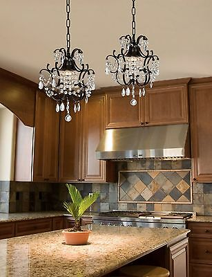 (WROUGHT IRON CRYSTAL CHANDELIER ISLAND PENDANT LIGHTING  H14