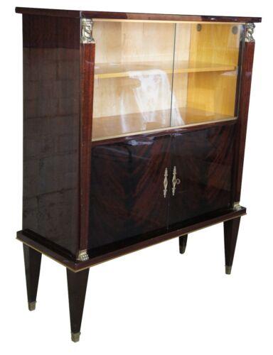 Egyptian Revival Crotch Mahogany & Maple Bar Library Bookcase Art Deco Style