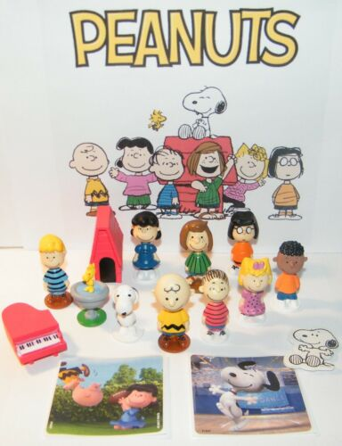Peanuts Figure Set of 12 Toys with 2 Stickers Includes Snoopy, Charlie Brown Etc