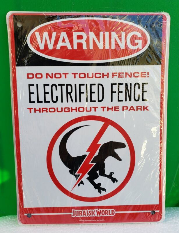 """Jurassic World Electrified Raptor Fence 8""""x6"""" Tin Sign Loot Crate Exclusive NEW"""