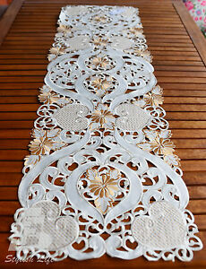 Table Cloth, Runner Embroidered, Cutwork ,41x229cm (16x90in), FFD024C