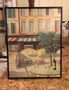 Canavs print of a cafe