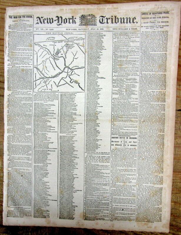 <1861 Civil War newspaper Detailed Map & UNION CASUALTY LIST 1st Battle BULL RUN
