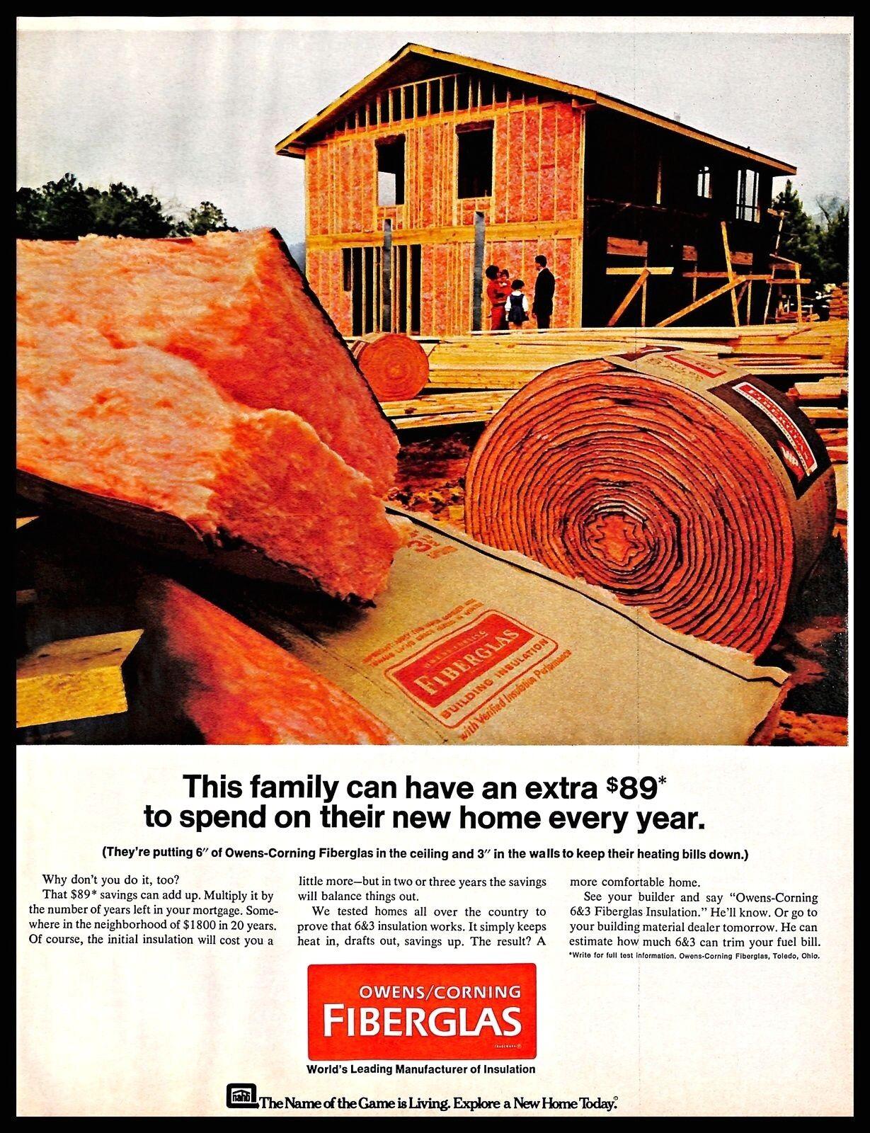 1968 Owens Corning Fiberglas Vintage Print Ad House Walls Ceiling Insulation Ebay