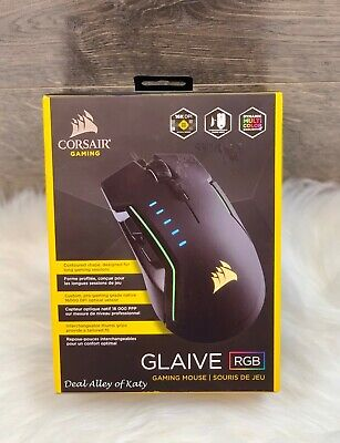 NEW CORSAIR - GLAIVE Wired Optical Gaming Mouse with RGB Lighting - Aluminum