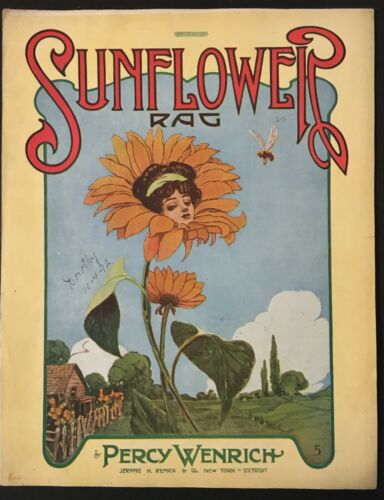 "1911 ""SUNFLOWER RAG"" ART COVER SHEET MUSIC - ANTHROMORPHIC - PERCY WENRICH"