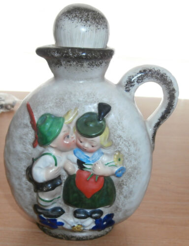 Vintage Goebel KL 24 Pottery German Boy Kissing Girl Heart Decanter Jug