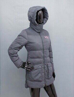KARI TRAA Down Parka Coat Hooded Grey Puffa Jacket XS