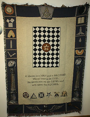 "MASONIC SYMBOLS MASON Tapestry Throw Blanket - Fringed 48"" X 60"""