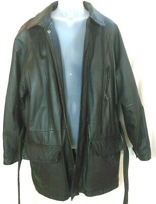 Wilsons Leather Jacket Coat Lined M Black Front Zip 6 Pockets Mens VGUC