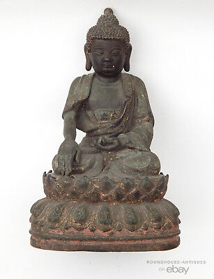 17th C. Antique Chinese late Ming Qing Dynasty Bronze Cast Buddha Shakyamuni
