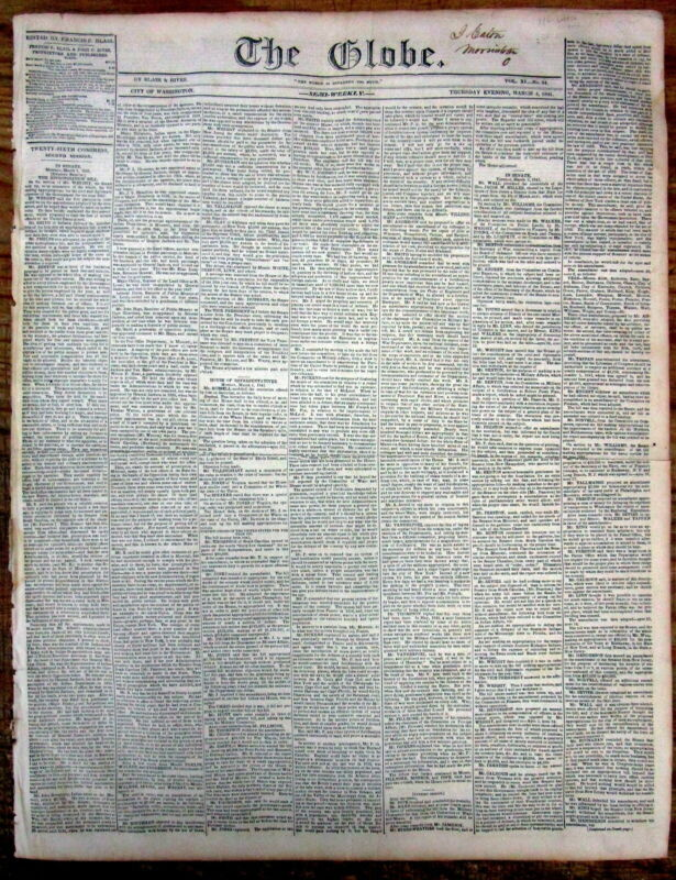 1841 DC newspaper WHIG PARTY William Henry Harrison INAUGURATION as US PRESIDENT
