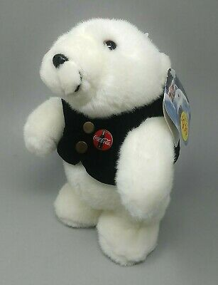 "1996 Coca Cola Plush White Polar 10"" Bear Doll in Black Jacket Tuxedo MINT!"