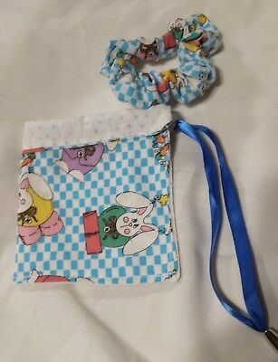new EASTER bag pouch wristlet  blue / white