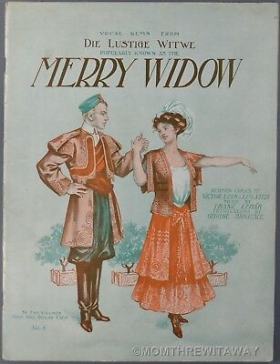 The Merry Widow Songs - 1908 THE MERRY WIDOW VOL II Sheet Music Song Book FRANZ LEHAR Leon & Stein