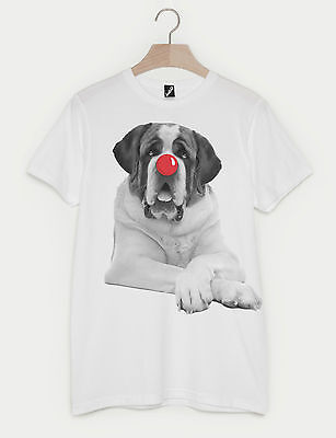 Womens Relief (COMIC RELIEF RED NOSE DAY ST BERNARD FASHION PRINT UNISEX MENS WOMENS T-SHIRT)