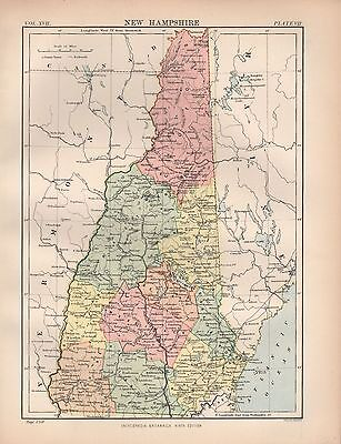 1880 ca ANTIQUE STATE MAP-USA-NEW HAMPSHIRE