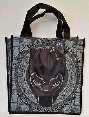 Black Panther Reusable Tote Bag Halloween Shopping Grocery Gift Black Grey Mask](Halloween Shopping)