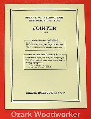 Craftsman 4 38 Jointer 103.23340 Instructions Parts Manual 0185