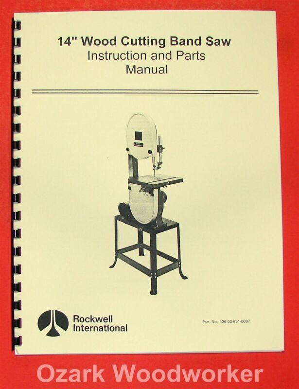 "ROCKWELL 14"" Wood Band Saw Instruction Parts Manual 0593"