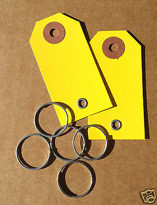 1,000 yellow car dealer key tags w/ key rings auto paper tag repair rental label