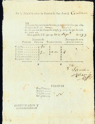 1833 SAN JUAN to CORDOBA POSTAL MANIFEST with DETAILS