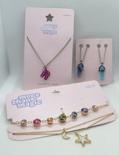 More Than Magic Necklace Lot Star Moon Heart R Crystal Pendant Pink Purple Blue