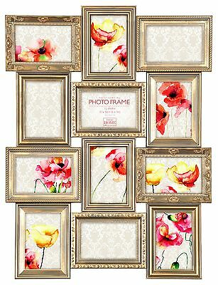 Vintage Gold Multi Aperture Photo Picture Frame - Holds 12 X 6''X4'' Photos