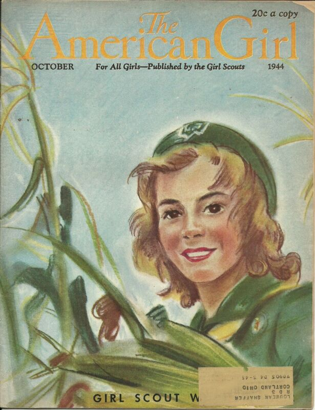 VINTAGE  GIRL SCOUT - 1944 AMERICAN GIRL - OCTOBER - WORLD WAR II