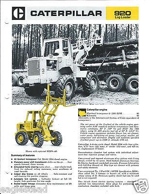 Equipment Brochure - Caterpillar - 920 - Wheel Log Loader Logging C1974 E3075