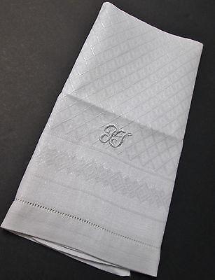 Elegant Linen Damask Towel P J Monogram Diamond Pattern Hemstitched