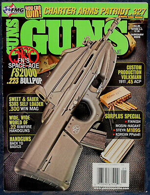 Magazine *GUNS* Jan 2009 MANNLICHER Model 1895 RIFLE, Finnish MOSIN-NAGANT 1939 for sale  Shipping to Canada