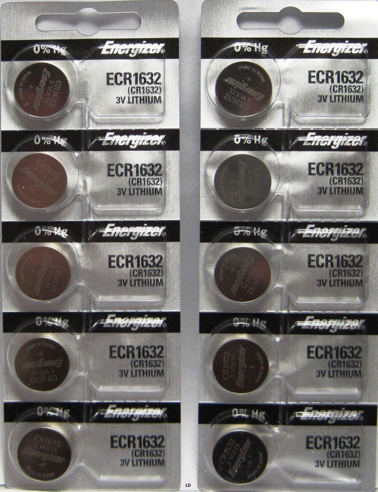 10 PACK FRESH ENERGIZER CR1632 ECR1632 1632 3V Lithium Coin Battery Expire 2025
