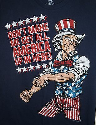 Liquid Blue Mens Uncle Sam Dont Make Me Get All America Up In Here Tee Sz M