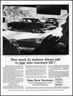 1953 Car collision street driveway State Farm Insurance retro art print ad L3