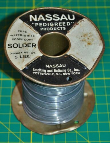 1 Vintage Nassau Solder Pure Water White Rosin Core Spool 4lb 7oz